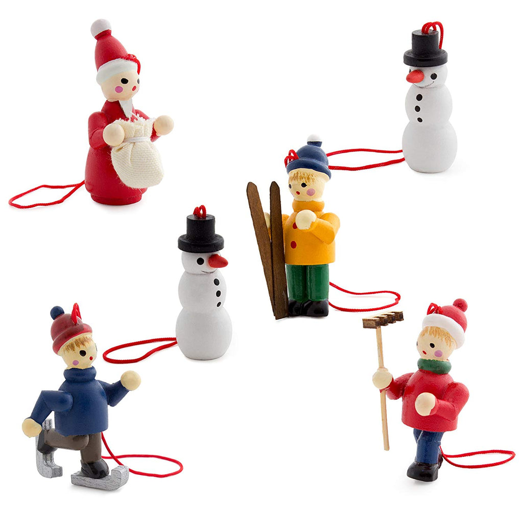 BRUBAKER 6 Handpainted Wooden Christmas Tree Ornaments Winter Outdoor Activity - Santa Claus, Snowman, Ice Skater, Skier - Designed in Germany