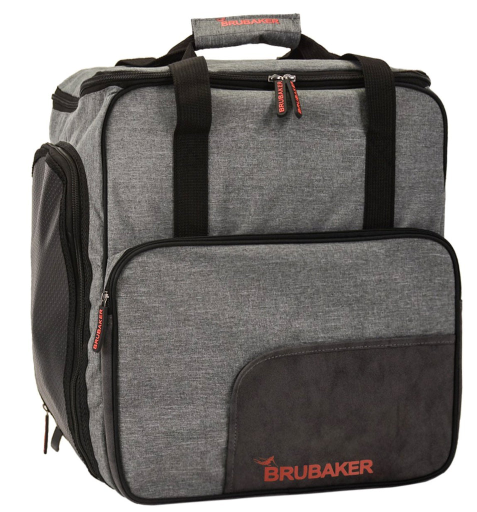 BRUBAKER Ski Boot Bag for Boots, Helmet, Gear and Apparel - Gray