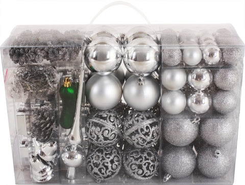 BRUBAKER 102 Pack Assorted Christmas Ball Ornaments with Green Pickle and Tree Topper Black Designed in Germany Shatterproof