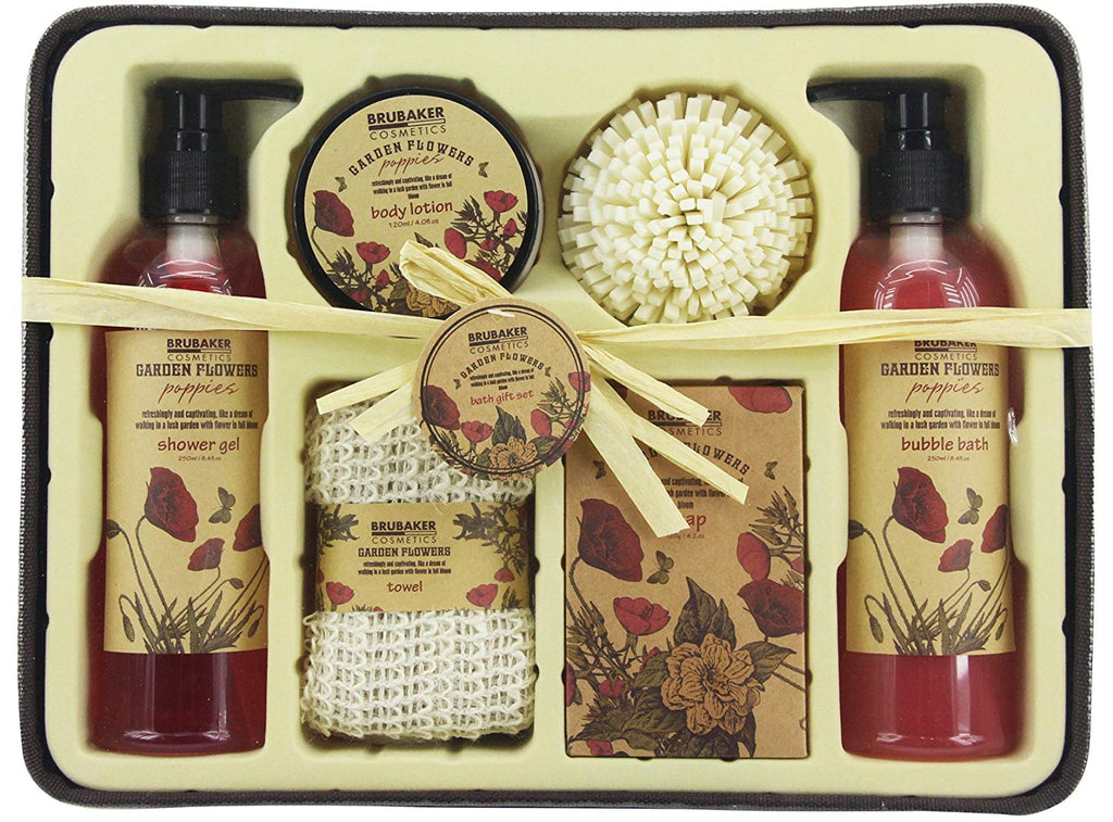 BRUBAKER Cosmetics 'Garden Flowers' 7-Pieces Bath Gift Set in Rustic Basket - Poppies Fragrance 15QE26