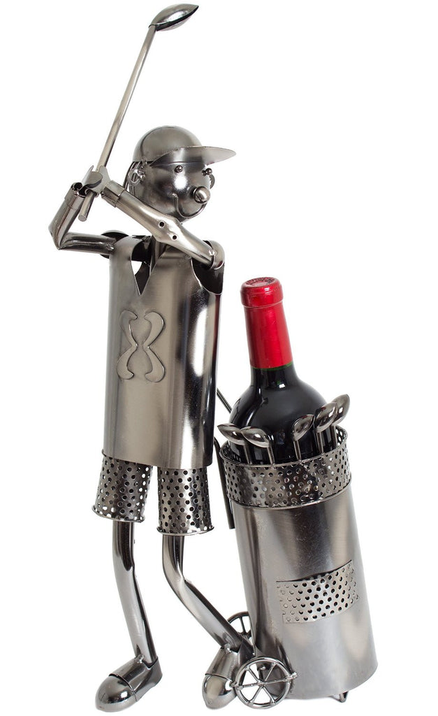"BRUBAKER Wine Bottle Holder ""Huge Golfer During Teeing"" 7052"