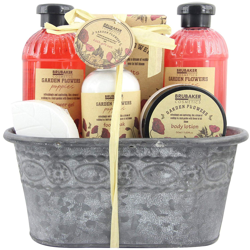 BRUBAKER Cosmetics 'Garden Flowers' 8-Pieces Bath Gift Set in Vintage Plant Container - Poppies Fragrance 15QE15