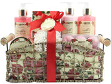 BRUBAKER Cosmetics 'Vanilla & Poeny Blossom' 14-Pieces Bath Gift Set in Decorative Basket 16CB16