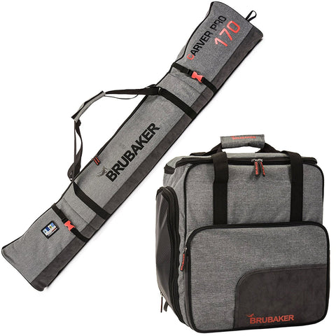 BRUBAKER Performance Ski Bag Combo of Ski Boot Bag and Ski Bag for 1 Pair of Ski, Poles, Boots, Helmet, Gear - Gray - 170/190 cm