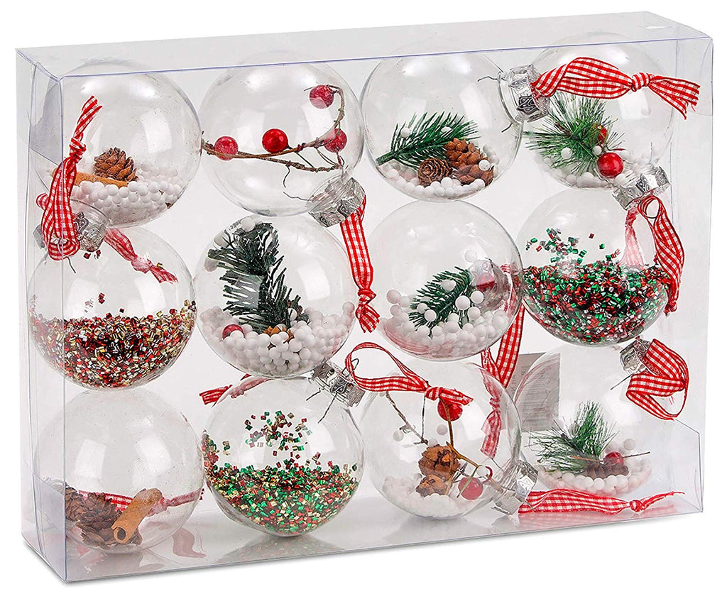 BRUBAKER 12-Piece Clear Filled Christmas Ornaments - 3.2 Inches - Acrylic