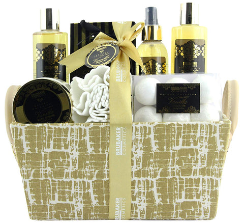 BRUBAKER Cosmetics 'Vanilla Golden Paradise' 13-Pieces Bath Gift Set in Trug Crate - Vanilla Roses Mint Fragrance 16CI08