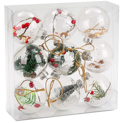 BRUBAKER 9-Piece Clear Filled Christmas Ornaments - 4 Inches - Acrylic