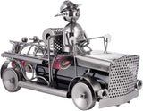 BRUBAKER Wine Bottle Holder 'Fire Engine' - Table Top Metal Sculpture - with Greeting Card