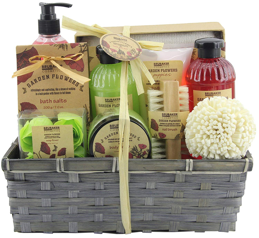 BRUBAKER Cosmetics 'Garden Flowers' 14-Pieces Bath Gift Set in Basket - Poppies Fragrance 15QE16