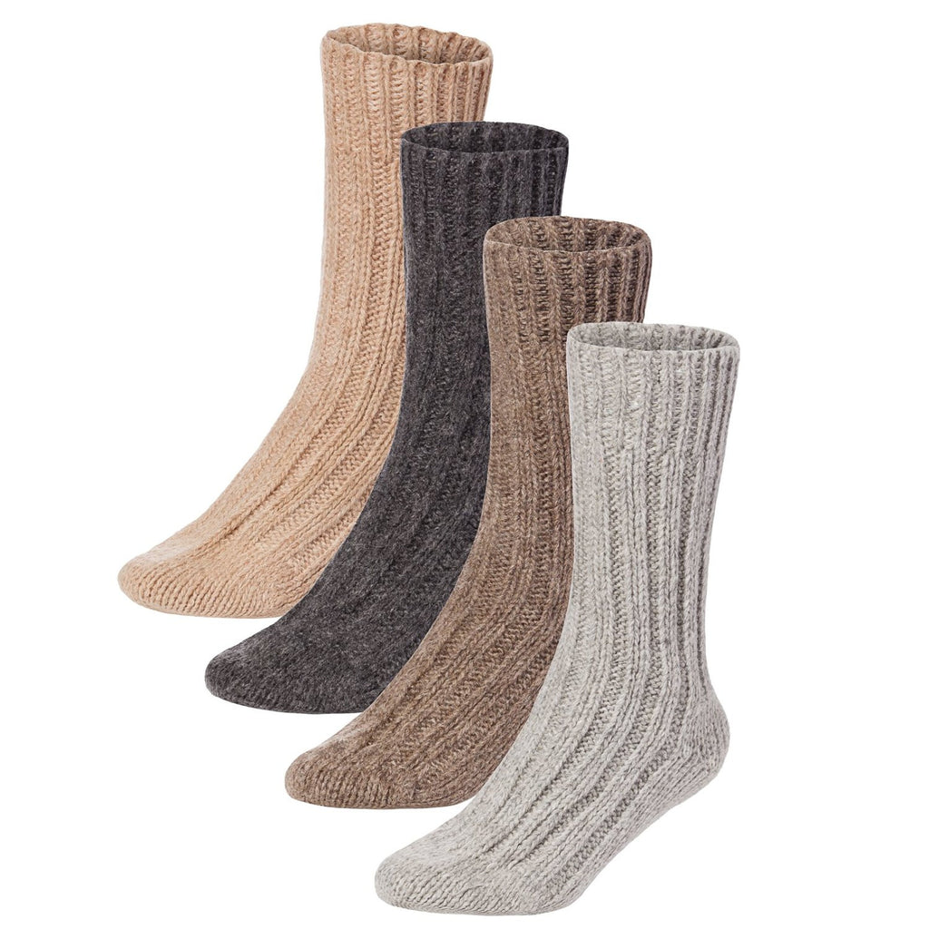 BRUBAKER Mens Or Womens Thick Cashmere Socks - 40% Cashmere, 48% Lambswool - 4 Pairs