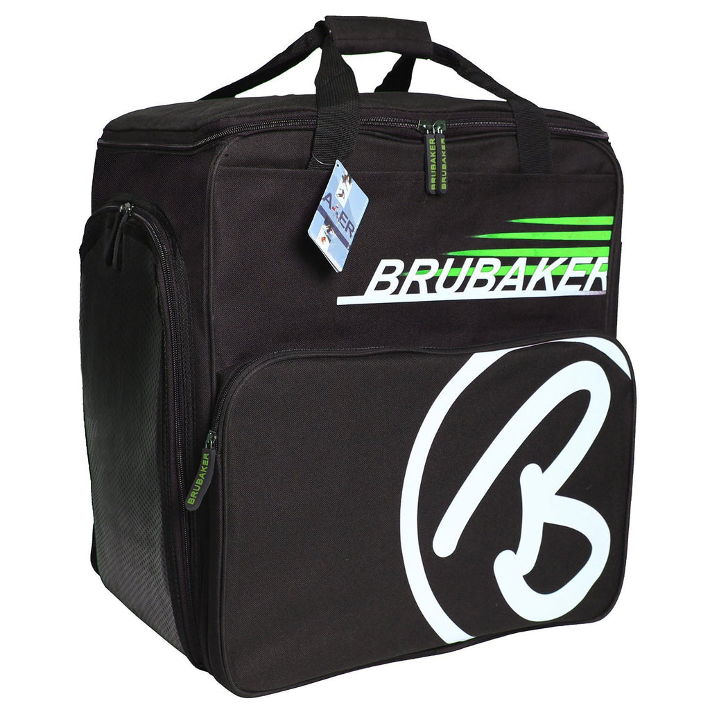 "BRUBAKER Winter Sports Boot Bag & Helmet Bag ""SUPER CHAMPION"" - Backpack - Black/Green"