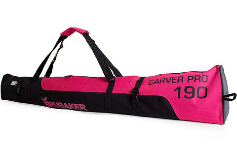 "BRUBAKER Ski Bag ""Carver Pro"" for 1 Pair of Skis and Poles - Pink/Black"