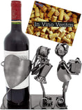 BRUBAKER Wine Bottle Holder 'Kissing Couple' - Table Top Metal Sculpture - with Greeting Card