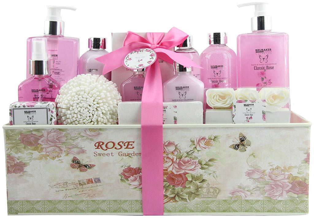 BRUBAKER Cosmetics 'Classic Rose' 15-Pieces Bath Set in Vintage Gift Box 15QF16