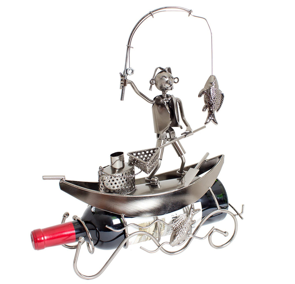 "BRUBAKER Wine Bottle Holder ""Fisherman On The Boat"" 6057"