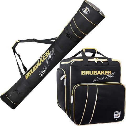 "BRUBAKER Combo Ski Boot Bag and Ski Bag for 1 Pair of Skis, Poles, Boots, Helmet, Gear and Apparel - Available in 66 7/8"" (170 cm) or 74 3/4"" (190 cm) - Black/Golden"