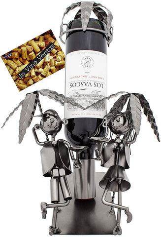 BRUBAKER Wine Bottle Holder 'Couple on Vacation' - Table Top Metal Sculpture - with Greeting Card