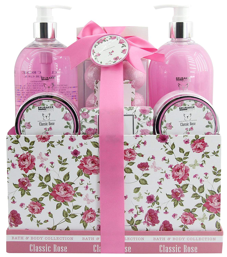 BRUBAKER Cosmetics 'Classic Rose' 13-Pieces Bath Set in Vintage Gift Box 15QF05