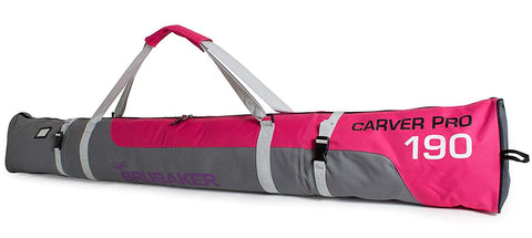 "BRUBAKER Ski Bag ""Carver Pro"" for 1 Pair of Skis and Poles - Pink/Gray"