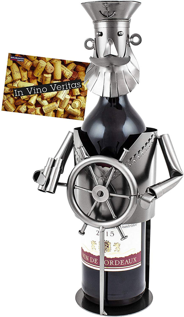 "BRUBAKER Wine Bottle Holder ""Captain"" - Metal Sculpture - Wine Rack Decor - Tabletop - With Greeting Card"