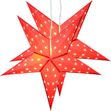 BRUBAKER Twinpack Christmas Paper Star 5 Leaf Star Cutting 24 inches with 10 LED Lamps