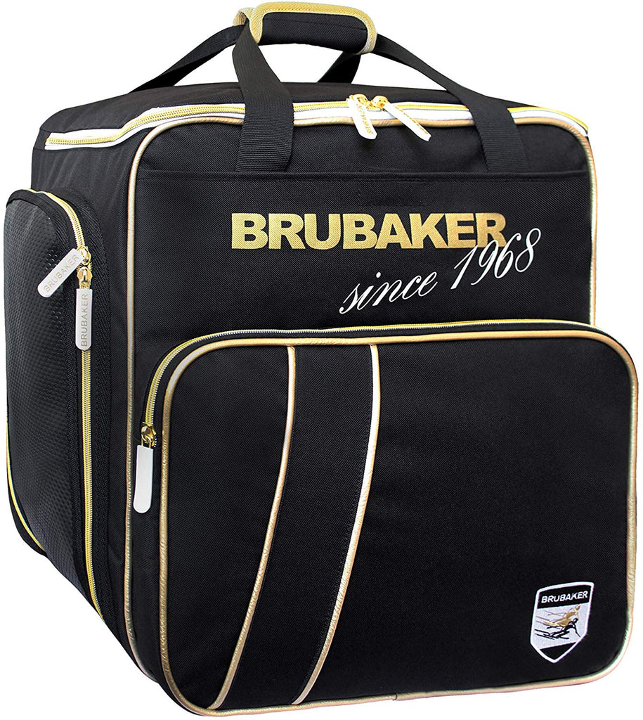 BRUBAKER Ski Boot Bag for Boots, Helmet, Gear and Apparel - Black/Golden