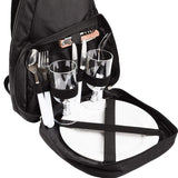 BRUBAKER Deluxe Two Person Picnic Backpack Black Plates Cutlery Set