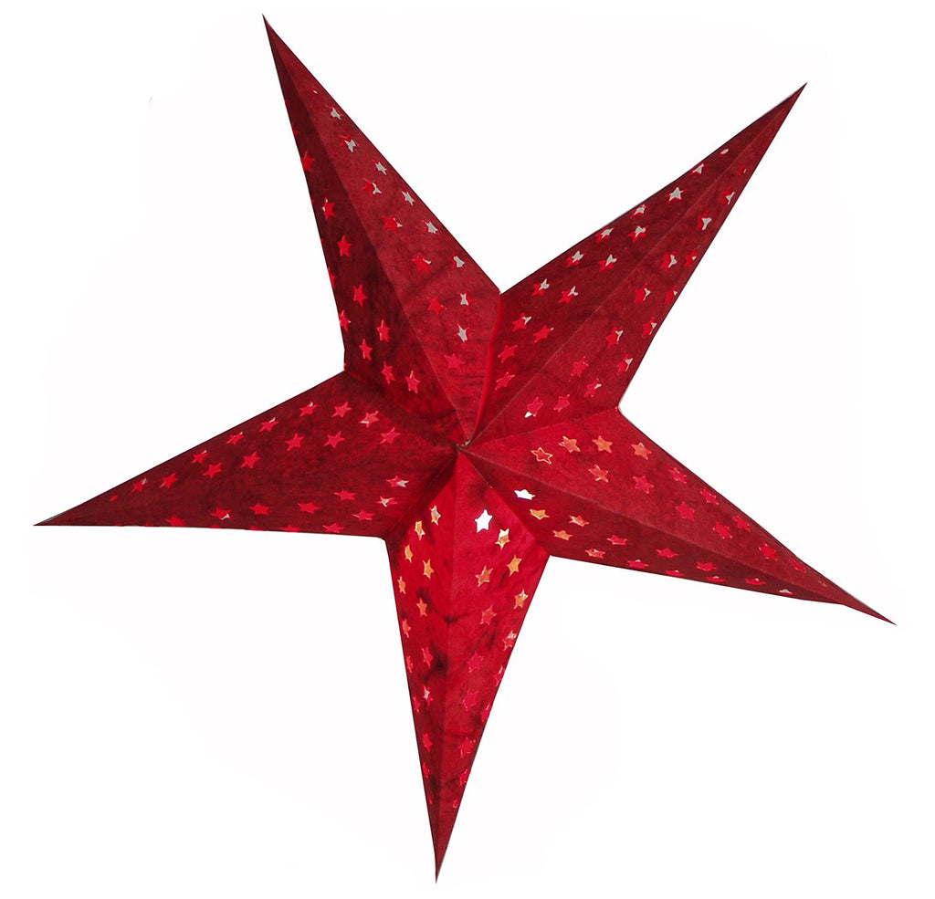 "BRUBAKER Paper Star Lantern ""Star Cutting"", 24"" with cut-outs"