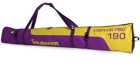 "BRUBAKER Ski Bag ""Carver Pro"" for 1 Pair of Skis and Poles - Purple/Yellow"
