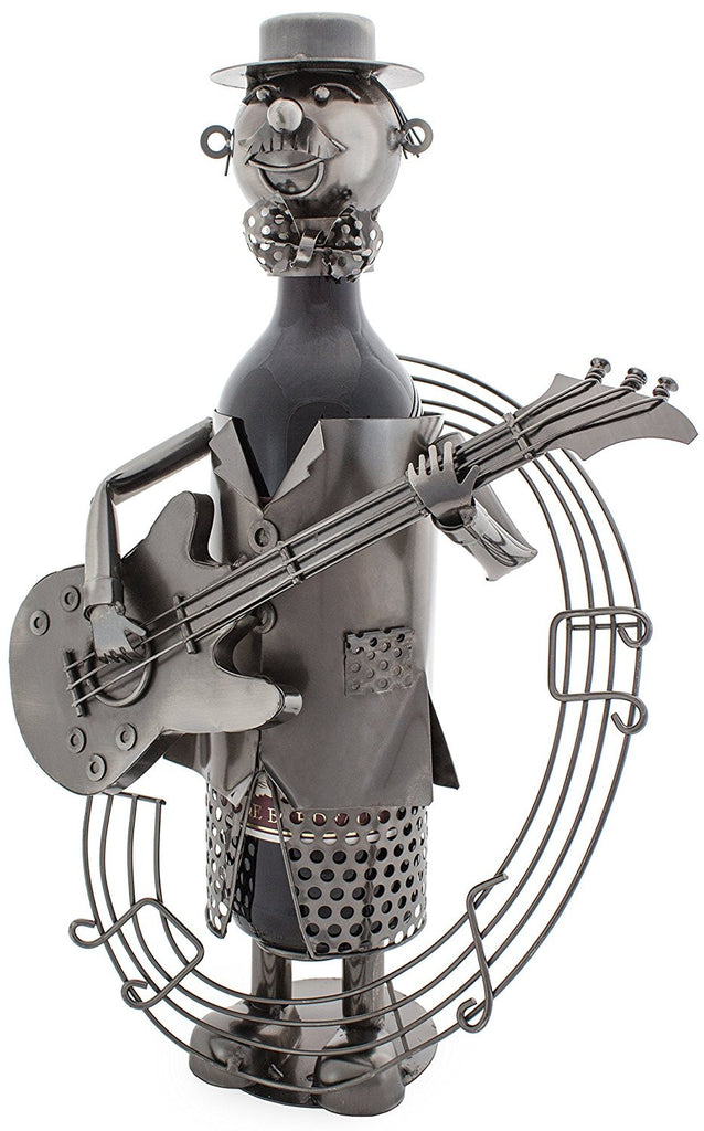 "BRUBAKER Wine Bottle Holder ""Guitarist"" Metal Sculpture 3041"