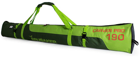 "BRUBAKER Ski Bag ""Carver Pro"" for 1 Pair of Skis and Poles - Dark Green/Green"