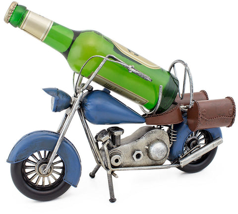 "BRUBAKER Bottle Holder ""Vintage Motorcycle"" Metal Sculpture Hand-Painted"
