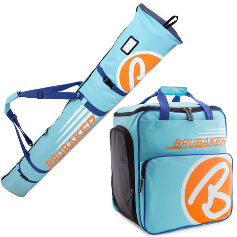 BRUBAKER Ski Bag Combo for Ski, Poles, Boots and Helmet - Limited Edition - Light Blue / Orange