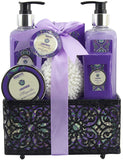 BRUBAKER Cosmetics 'Lavender & Magnolia' - 7-Pieces Bath Gift Set in Decorative Basket 16CE09