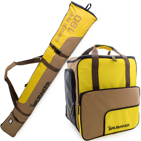 BRUBAKER Ski Bag Combo for Ski, Poles, Boots and Helmet - Limited Edition - Yellow / Brown
