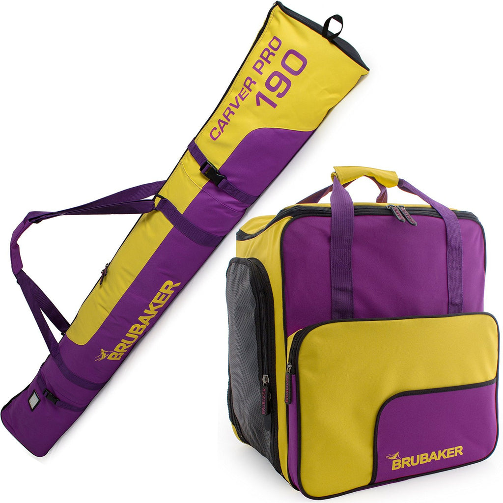 BRUBAKER Ski Bag Combo for Ski, Poles, Boots and Helmet - Limited Edition - Purple Yellow