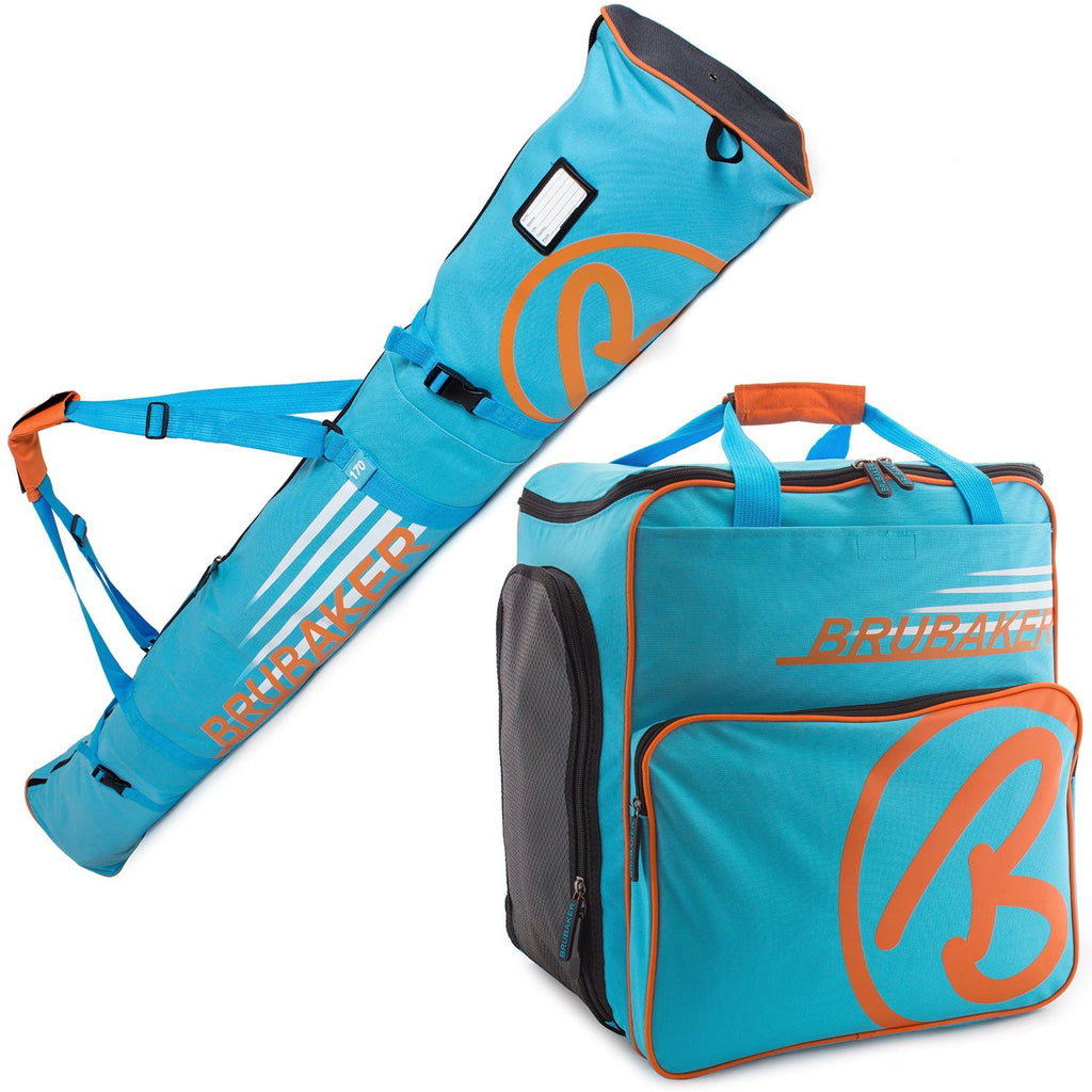 BRUBAKER Ski Bag Combo for Ski, Poles, Boots and Helmet - Limited Edition - Blue Orange