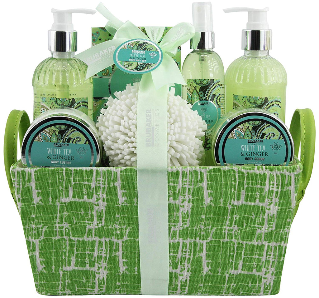 BRUBAKER Cosmetics 'White Tea & Ginger' 8-Pieces Bath Gift Set in Trug Crate 16CA12