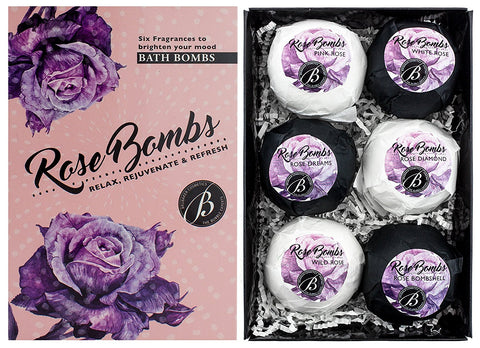 "BRUBAKER 6 Handmade ""Rose Bombs"" Bath Bombs Gift Set - All Natural, Vegan, Organic Ingredients - Macadamia Nut Oil, Olive Oil, Almond Oil and Aloe Vera Moisturizes Dry Skin"