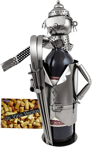 "BRUBAKER Wine Bottle Holder ""Skier"" - Metal Sculpture - Wine Rack Decor - Tabletop - With Greeting Card"