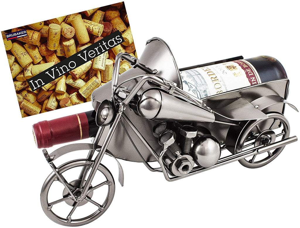 "BRUBAKER Wine Bottle Holder ""Motorcycle with Sidecar"" - Metal Sculpture - Wine Rack Decor - Tabletop - With Greeting Card"