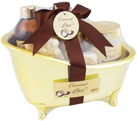 BRUBAKER Beauty Gift Set 'Coconut Love' with Golden Bathtub, Bath Fizzer, Bubble Bath, Shower Gel, Bath Salt, Soap