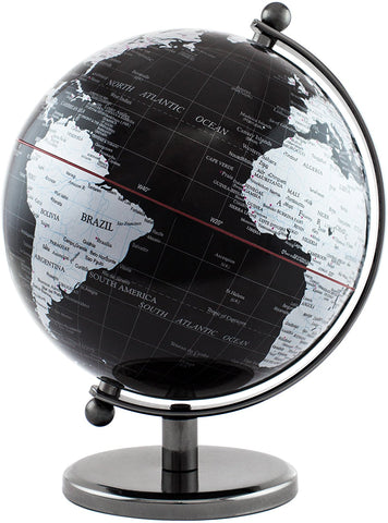 BRUBAKER Political World Globe - Office Decoration - 7.5 Inches tall - Black