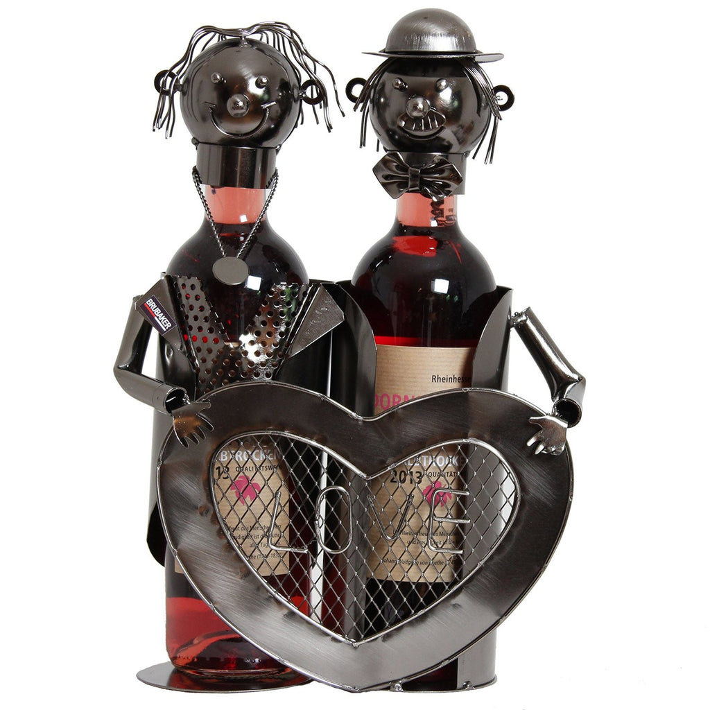 "BRUBAKER Wine Bottle Holder ""Lovers with heart"" for Two Bottles 6014"