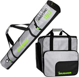 BRUBAKER Combo Set CarverTec Pro - Ski Bag and Ski Boot Bag for 1 Pair of Skis + Poles + Boots + Helmet - Silver Green