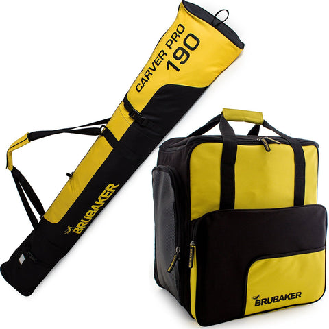 BRUBAKER Ski Bag Combo for Ski, Poles, Boots and Helmet - Limited Edition - Yellow / Black