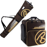 BRUBAKER Ski Bag Combo for Ski, Poles, Boots and Helmet - Limited Edition - Brown / Sand