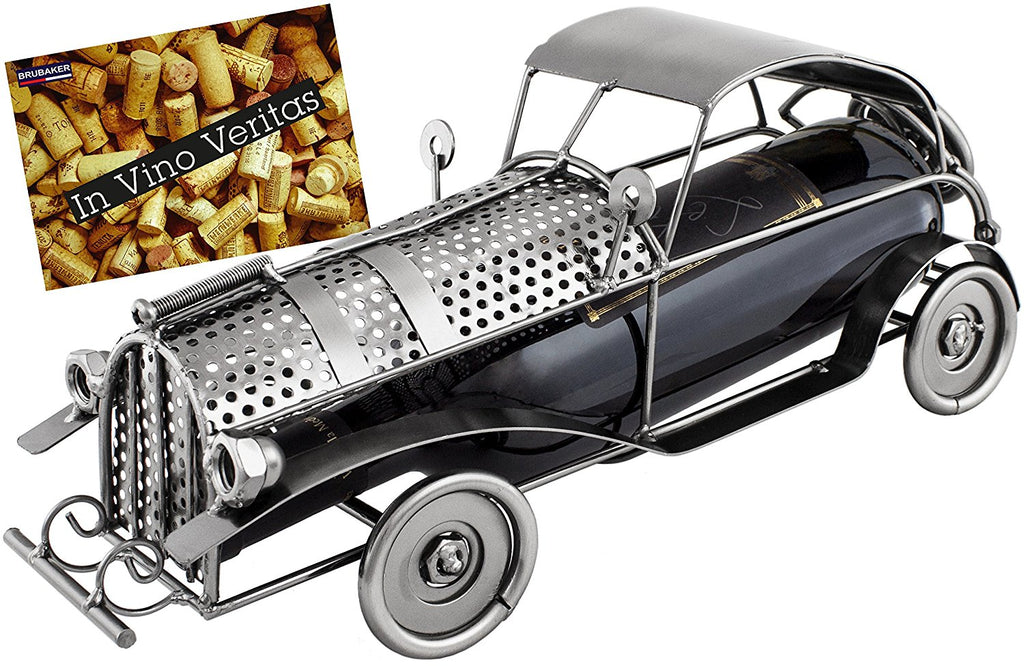 "BRUBAKER Wine Bottle Holder ""Classic Car"" - Metal Sculpture - Wine Rack Decor - Tabletop - With Greeting Card"