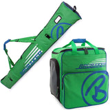 BRUBAKER Ski Bag Combo for Ski, Poles, Boots and Helmet - Limited Edition - Green / Blue