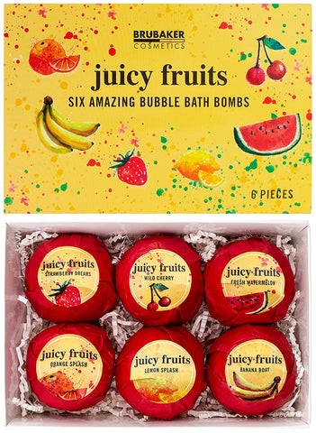 "BRUBAKER 6 Handmade ""Juicy Fruits"" Bath Bombs - All Natural, Vegan, Organic Ingredients - Macadamia Nut Oil, Avocado Oil and Aloe Vera Moisturizes Dry Skin"